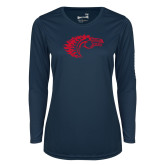 Ladies Syntrel Performance Navy Longsleeve Shirt-Horse Head