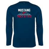 Performance Navy Longsleeve Shirt-Mustang Track and Field