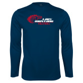 Performance Navy Longsleeve Shirt-Lady Mustang Volleyball