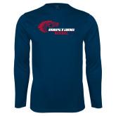 Performance Navy Longsleeve Shirt-Mustang Baseball