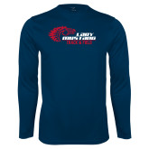 Performance Navy Longsleeve Shirt-Lady Mustang Track and Field