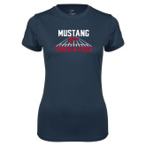 Ladies Syntrel Performance Navy Tee-Mustang Track and Field
