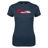 Ladies Syntrel Performance Navy Tee-Lady Mustang Track and Field