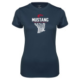 Ladies Syntrel Performance Navy Tee-Mustang Basketball