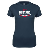 Ladies Syntrel Performance Navy Tee-Mustang Baseball