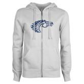 ENZA Ladies White Fleece Full Zip Hoodie-Horse Head