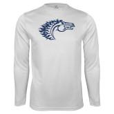 Performance White Longsleeve Shirt-Horse Head
