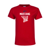 Youth Red T Shirt-Mustang Basketball