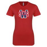 Next Level Ladies SoftStyle Junior Fitted Red Tee-SW