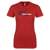 Next Level Ladies SoftStyle Junior Fitted Red Tee-Mustang Baseball