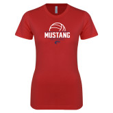 Next Level Ladies SoftStyle Junior Fitted Red Tee-Mustang Volleyball