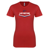 Next Level Ladies SoftStyle Junior Fitted Red Tee-Lady Mustang Softball
