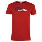 Ladies Red T Shirt-Lady Mustang Basketball