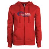 ENZA Ladies Red Fleece Full Zip Hoodie-Lady Mustang Basketball