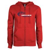 ENZA Ladies Red Fleece Full Zip Hoodie-Mustang Track and Field