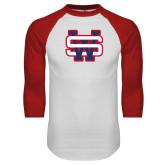 White/Red Raglan Baseball T Shirt-SW