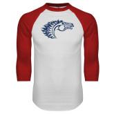White/Red Raglan Baseball T Shirt-Horse Head