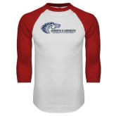 White/Red Raglan Baseball T Shirt-Mustangs Flat