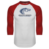 White/Red Raglan Baseball T Shirt-Primary Mark Distressed