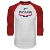White/Red Raglan Baseball T Shirt-Mustang Baseball