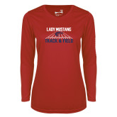 Ladies Syntrel Performance Red Longsleeve Shirt-Lady Mustang Track and Field