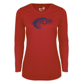 Ladies Syntrel Performance Red Longsleeve Shirt-Horse Head