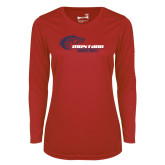 Ladies Syntrel Performance Red Longsleeve Shirt-Mustang Basketball