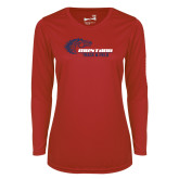 Ladies Syntrel Performance Red Longsleeve Shirt-Mustang Track and Field
