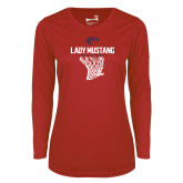Ladies Syntrel Performance Red Longsleeve Shirt-Lady Mustang Basketball