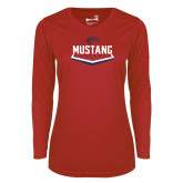 Ladies Syntrel Performance Red Longsleeve Shirt-Mustang Baseball