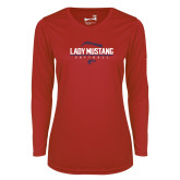 Ladies Syntrel Performance Red Longsleeve Shirt-Lady Mustang Softball