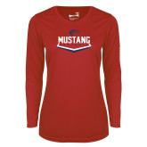 Ladies Syntrel Performance Red Longsleeve Shirt-Mustang Softball
