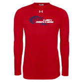 Under Armour Red Long Sleeve Tech Tee-Lady Mustang Softball