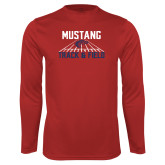 Performance Red Longsleeve Shirt-Mustang Track and Field