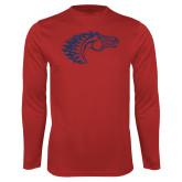 Performance Red Longsleeve Shirt-Horse Head