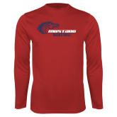 Performance Red Longsleeve Shirt-Mustang Basketball