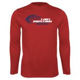 Performance Red Longsleeve Shirt-Lady Mustang Basketball