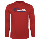 Performance Red Longsleeve Shirt-Lady Mustang Track and Field