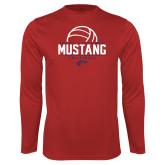Performance Red Longsleeve Shirt-Mustang Volleyball