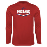 Performance Red Longsleeve Shirt-Mustang Baseball