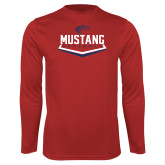 Performance Red Longsleeve Shirt-Mustang Softball