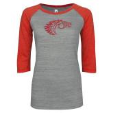 ENZA Ladies Athletic Heather/Red Vintage Baseball Tee-Primary Mark Red Glitter