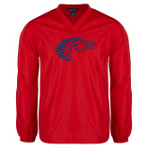 V Neck Red Raglan Windshirt-Horse Head
