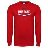 Red Long Sleeve T Shirt-Mustang Baseball