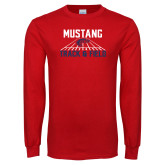 Red Long Sleeve T Shirt-Mustang Track and Field
