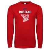Red Long Sleeve T Shirt-Mustang Basketball