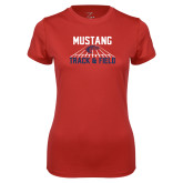 Ladies Syntrel Performance Red Tee-Mustang Track and Field