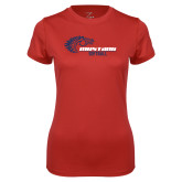 Ladies Syntrel Performance Red Tee-Mustang Softball