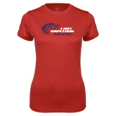 Ladies Syntrel Performance Red Tee-Lady Mustang Track and Field
