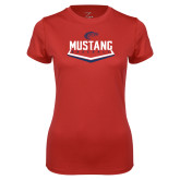 Ladies Syntrel Performance Red Tee-Mustang Baseball
